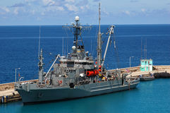 American military ship in the Caribbean water. In sunny day stock photography
