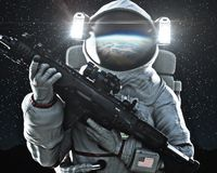 Free American Military Space Force Soldier Holding A Weapon With Earth`s Reflection In The Helmet. Royalty Free Stock Photos - 138680428