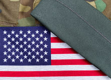 American Military Uniform with Flag and Cap Stock Photo
