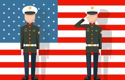 American military veteran ceremonial dress stands attention salutes flag background flat icon vector illustration. American military veteran ceremonial stands Royalty Free Stock Image