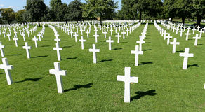 American military war cemetery. Rows of white crosses receding into distance, American war cemetery, Brittany, France Royalty Free Stock Image