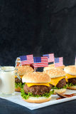 American mini burgers Stock Photo