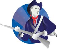 American Minuteman Revolutionary Soldier Retro. Illustration of an American minuteman revolutionary soldier with rifle musket looking to the side set inside Stock Photo