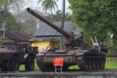 An American 175 mm self-propelled artillery installation in the city Museum of Hue. Vietnam royalty free stock photo