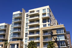 American modern condominiums and retail building royalty free stock photography