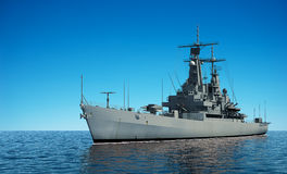 American Modern Warship In The Ocean. 3D Illustration Royalty Free Stock Photography