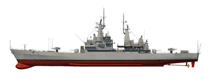 American Modern Warship Over White Background. 3D Model stock illustration