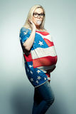 American Mom Concept: Surpised young pregnant woman Stock Photos