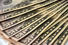 American Money. Close up shot of American Currency - 50 dollars Stock Photos
