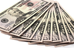 American Money. Close up shot of American Currency - 50 dollars Royalty Free Stock Images