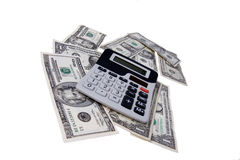 American money with calculator Royalty Free Stock Photography