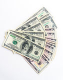 American money dollars banknotes bills on white background Stock Photography