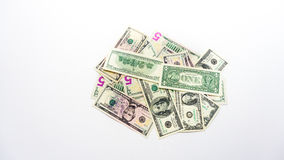 American money dollars banknotes bills on white background Stock Photos