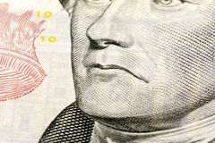 American money. The dollars photographed by a close up. the president on money has a sad face Royalty Free Stock Image