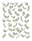 American Money Falling Raining. American money, notes, bills, raining or falling down isolated on a white background