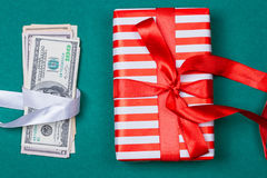 american money with gift box Royalty Free Stock Images