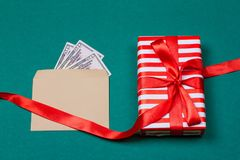 american money with gift box Royalty Free Stock Photography