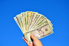 The American money in a hand Royalty Free Stock Photo