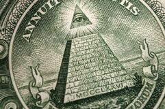 Free American Money, Illuminati And Mystical Symbols Concept With Macro Close Up On The All Seeing Eyeball Atop The Pyramid On The Back Stock Photos - 185713853