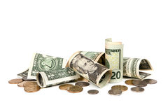American Money over White Background. Includes notes and coins Royalty Free Stock Photo