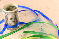 American money and ribbons Royalty Free Stock Photo