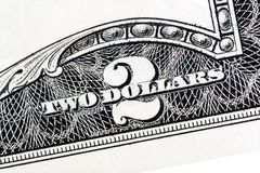 American money, Two dollar bill close-up. Isolated. High resolution photo stock image