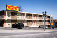 American motel. Typical american inexpensive motel with parking and separate rooms. Shot in Niagara Falls, Ontario, Canada Royalty Free Stock Image