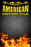 American motorcycle grunge poster with fire - card design. Copy space Stock Photos