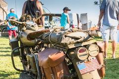 American motorcycle World War II with his arms exhibition Royalty Free Stock Photo