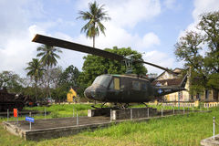 American multi-purpose helicopter Bell UH-1 Iroquois at the Museum of the city of Hue. Vietnam Stock Photos