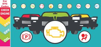 Set of dashboard instrument cluster icons - dtc codes, engine malfunction indicators, illustration stock images