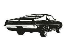 American muscle car from the 1970s vector illustration. Silhouette of american muscle car, early 1970s, back view, vector illustration stock illustration