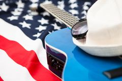 American musicians. Six-string guitar on the background of the f Stock Images