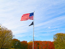 The American national flag on the National Mall in autumn. Stock Photos