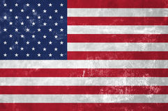 American National Flag. United States Of America - American National Flag on Old Grunge Texture Background Stock Photography