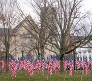 American national flags in historic  Park Square park Stock Photo