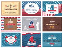 American National Holiday 4th of July Greetings. American national holiday, 4th of July collection of colorful greeting cards with traditional sightseeings and Stock Images