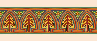 American national ornament. Seamless ancient american national geometric ornament on beige background stock illustration