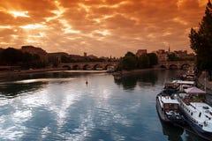 American national standard île de la cité de la Seine à Paris Images libres de droits