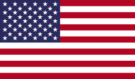American national United States flag. USA flag vector illustration. American national United States flag with stars and stripes for federal banners and state Stock Images