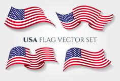 American national wave 3D flag. USA flag vector illustration. American national wave United States 3D flag  on white background Royalty Free Stock Image