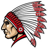 American native chief head. Vector of indian chief head, suitable as a mascot, sticker, print, t-shirt etc royalty free illustration