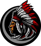 American Native Indian Chief Mascot Head Graphic. Graphic Native American Indian Chief Mascot with Headdress Stock Image