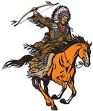 Native indian chief riding a pony horse. American native Indian chief wearing a feather war bonnet and riding a mustang pony horse in the gallop. Nomadic royalty free illustration