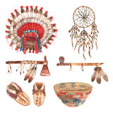 American native objects pictograms set watercolor Royalty Free Stock Photos