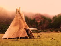 American native tent camp teepees stock photo