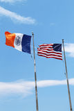 American and New York City flags in New York Royalty Free Stock Photo