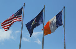 American, New York State and New York City flags Royalty Free Stock Image