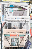 American news stand. US newspapers in a news stand with copy space Royalty Free Stock Images