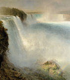 American Niagara Falls. This is a image by Frederic Church done in 1867 of the Niagara Falls from the American side Stock Images